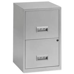 Filing Cube Cabinet Steel Lockable 2 Drawers A4 W400xD400xH660mm Silver