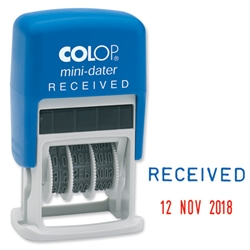 Colop S160-L1 Mini Text Dater Stamp RECEIVED 12 Years Self-Inking Imprint 26x13mm Red/Blue Ref 14560100 - Item image