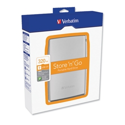 Verbatim Store n Go Hard Drive Portable 2.5inch with Backup Software USB 2.0 320GB Ref 53014