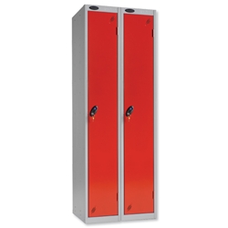 Trexus Plus 1 Door Locker Nest of 2 Extra Depth ACTIVECOAT W305xD460xH1780mm Silver Red Ref 862906