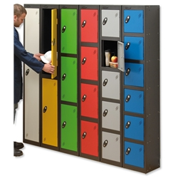 Trexus Plus 1 Door Locker Nest of 2 ACTIVECOAT W305xD305xH1780mm Black Red Ref 863082