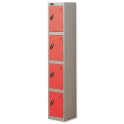 Trexus Plus 4 Door Locker Nest of 1 ACTIVECOAT W305xD305xH1780mm Silver Red Ref 864176