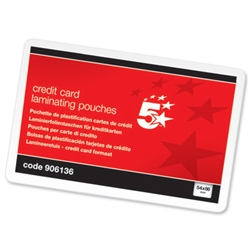 5 Star pouches Credit Card 54x86mm 250 Micron Glossy - Pack 100