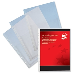 5 Star Expanding Punched Pocket PVC Top Flap A4 Clear [Pack 10]