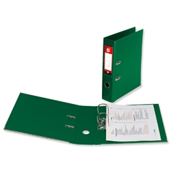 5 Star Premier Lever Arch File PVC Spine 70mm Foolscap Green - Pack 10