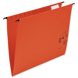 5 Star Suspension Files Manilla Wrapover Bar Tabs and Inserts Foolscap Red Ref 100331410 - Pack 50