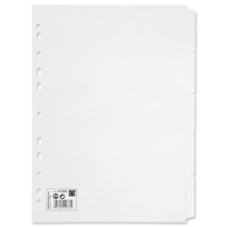 5 Star Office Subject Dividers Multipunched Manilla Board 5-Part A4 White