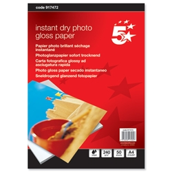 5 Star Premier Photo Inkjet Paper Gloss 240gsm A4 White - Pack 50