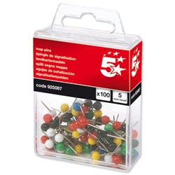 5 Star Office Map Pins 5mm Head Assorted - Pack 100