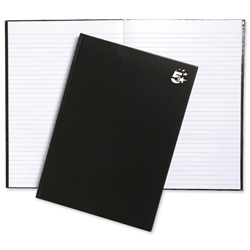 5 Star Notebook Casebound Hard Cover Ruled 80gsm A4 Black - Pack 5