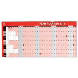 5 Star 2013 Year Planner Laminated Unmounted January to December Write-on Wipe-off W915xH610mm - Item image