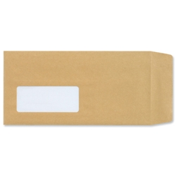 New Guardian Envelopes Lightweight Pocket Press Seal Window 80gsm Manilla DL - Pack 1000