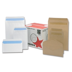 5 Star Office Envelopes Wallet Press Seal Window 90gsm White DL - Pack 1000
