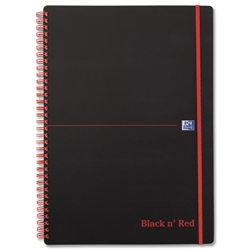 Black n Red Notebook Wirebound Polypropylene 90gsm Ruled 140pp A4 Ref 100080166 - Pack 5