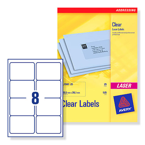 Buy Avery L7565 Clear Laser Printer Labels 99.1x67.7mm 8 ...