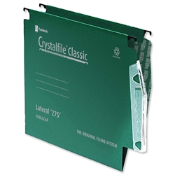 Twinlock Crystalfile Classic Lateral File Manilla V-base 15mm W275xH280mm Green Ref 78652 - Pack 50